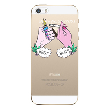 Hand Pink Nail Hand Hold Cigarette Best Buds Soft silicone Case For Apple iPhone 5 5S SE Cell Phone Cases(China)