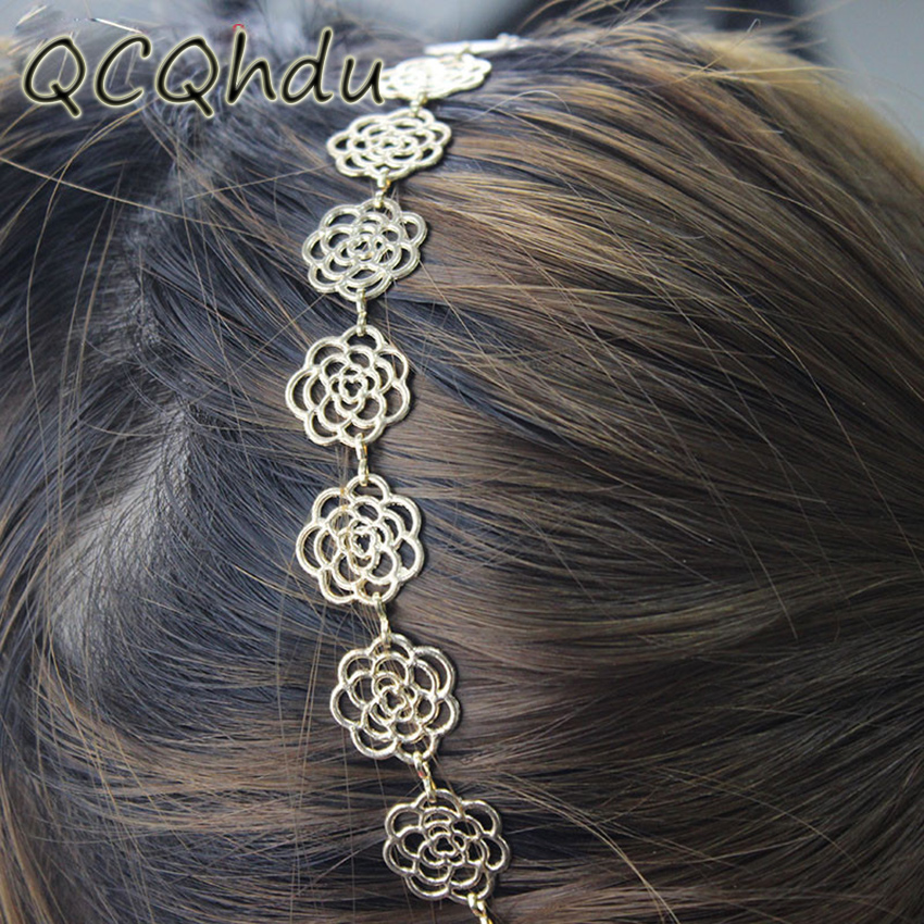 Womens Metal Chain Jewelry Hollow Rose Flower Elastic Hair Band Headband Popular