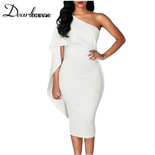 Buy Dear lover 2017 Autumn White Bodycon Midi Dresses Ruffles One Shoulder Elegant Party Midi Dress LC61672 Bandage Dress for $19.14 in AliExpress store