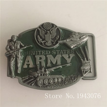 Retail New Style United States ARMY Cowboy belt buckles 79*64mm 85g green Metal fit 4cm Wide belt Fashion Jeans accessories gift