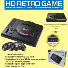 2017 Newest HDMI Video Game Console SEGA Genesis 18in1 free games High definition HDMI TV Out with 2.4G wireless controller(China)