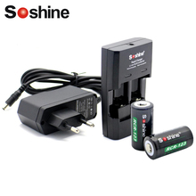 Soshine RCR123 CR2 16340 battery Rapid Charger with 2pcs RCR123 16340 Battery 700mAh 3.7V Rechargeable Lithium Li-ion Battery