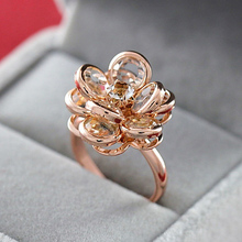 MOONROCY Free Shipping Fashion Jewelry Cubic Zirconia Rose gold Color Austrian Crystal Rings flower rings for women Gift