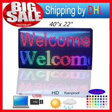 "40""X22"" P10 outdoor full color scrolling colorful text message LED display 103X55CM SMD full color advertising LED Sign(China)"
