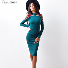 Buy Capucines 2017 Autumn Fashion Roses Appliques Knee Length Sheath Dress Women Casual Turtleneck Long Sleeve Sexy Bodycon Dresses for $6.99 in AliExpress store