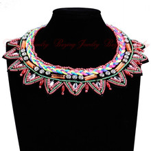 Boho Handmade Beads Design Accessory Multicolor Lotus Flower Statement Choker False Collar Necklaces Women Fashion Jewelry