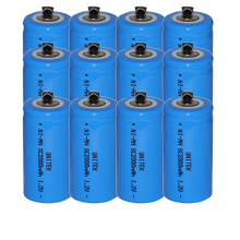 12PCS Sub C SC 1.2V rechargeable battery 2000mah ni-mh nimh cell with welding legs pins tab for vacuum cleaner electric drill