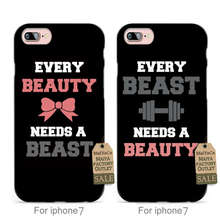 MaiYaCa soft black tpu Every Beast Needs a Beast and Every Beauty Needs a Beauty couple case For iPhone se 5s 6s 7 plus case