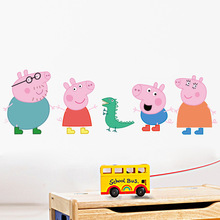 Hot cute cartoon pink pig wall stickers diy removable home decoration for kids rooms bedroom living room boy girl wall art decal(China)