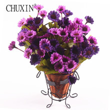 One Set Artificial Silk Daisy Flower With Wall Handing Rattan Iron Vase Home Decoration Accessories Garden Decor(China)