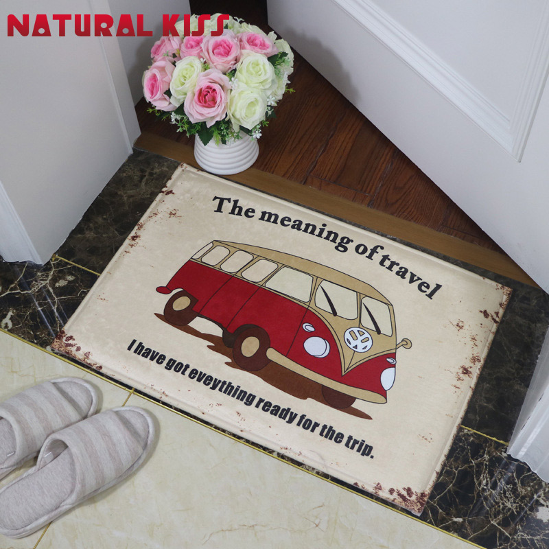 Welcome Bus Floor Mats American Retro Cute Four Car Printed Bathroom Kitchen Carpet House Doormats for Living Room Anti-Slip Rug(China (Mainland))