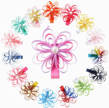 Free Shipping 200pcs/lot Cute Ribbon Flower Hair Barrette Ribbon Lily Flower Clip(China)