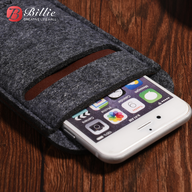 Wool Felt For Apple iphone 7 Plus 5.5 Card Insert Cover For iphone 7 4.7inch Portable Phone Bag fundas cell phones bags shell(China (Mainland))