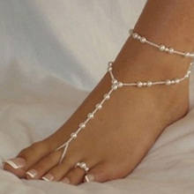 2Pcs/Set! Fashion Pearl Anklet Women Ankle Bracelet Beach Imitation Pearl Barefoot Sandal Anklet Chain Foot Jewelry