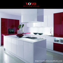 Free standing kitchen cabinets in gloss white and red color(China)