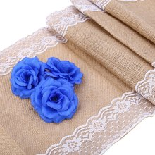 NEW Vintage Burlap Wedding Decoration Lace Hessian Table Runner Original Ecology Style White Natural Jute Country Party