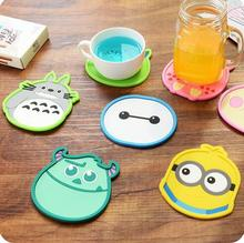 2016 New 6 pcs/Lot Cartoon coaster Silicone cup mat Tea placement for table Three-dimensional silicone coasters households Hot