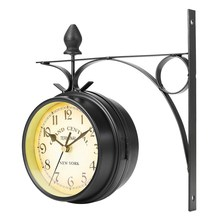 Charminer Double Sided Round Wall Mount Station Clock Garden Vintage Retro Home Decor Metal Frame Glass Dial Cover Hot Sale(China)