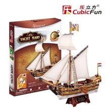 CubicFun 3D puzzle paper model child gift DIY toy T4010H YACHT MARY Ancient boat ship assemble educational creat birthday gift(China)