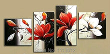 Modern Abstract Fashion Artwork Red Camellia Flower Oil Painting On Canvas 4 Panel Art Set Home Wall Decorative For Living Room