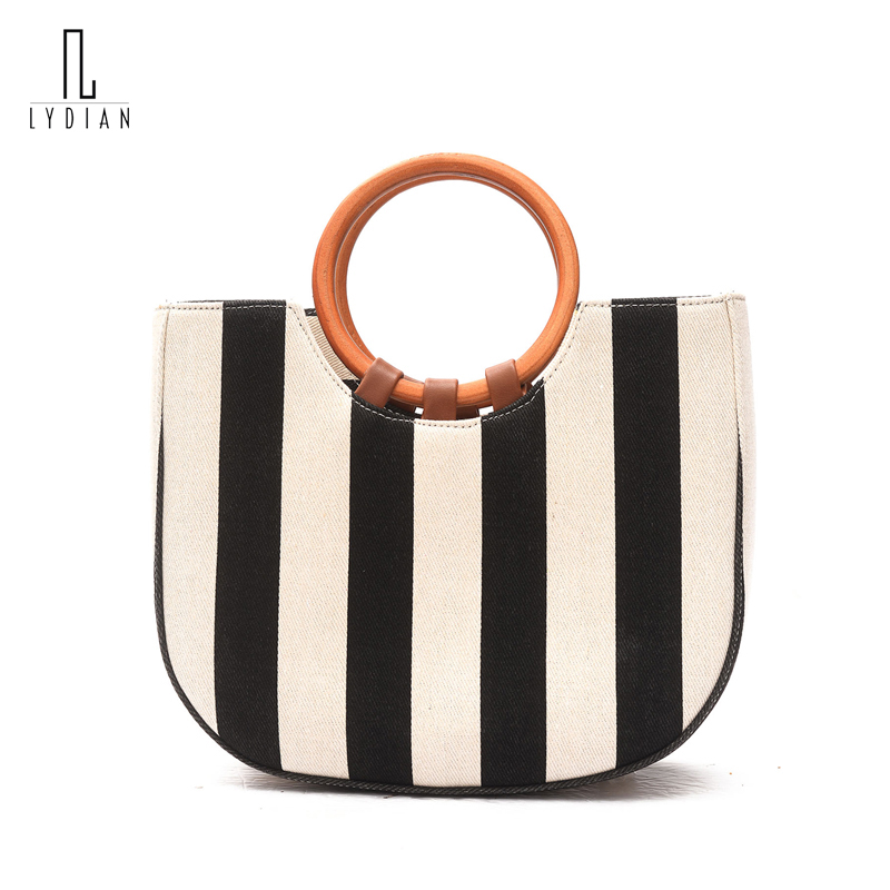 Lydian Harajuku Bracelet Bag Women Handheld Bag 2018 New Blue Striped Canvas Bag Wooden Handle Shoulder Crossbody Messenger Bags<br>
