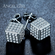 Angel Girl White Gold Color Three-dimensional square Champagne Cubic Zirconia 7mm and AAA+CZ stud Earrings  for women gift