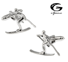 iGame Factory Price Retail Cufflinks For Men Brass Material White Colour Skiing Design Cuff Links Free Shipping