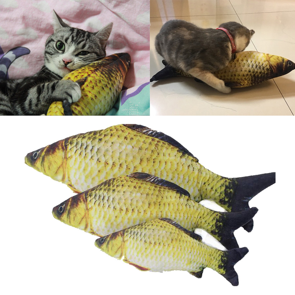 Pet Cat Toys Cute Fish Shape Chewing Toy Simulation Stuffed Fish with Catnip Pet Interactive Toy for Cats Kitten /30/40/60cm 1