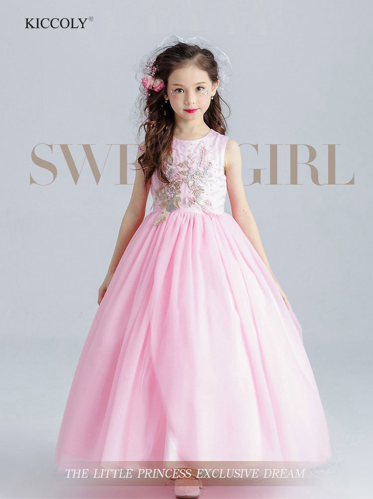 Flower Girls Dress Pink Wedding Pageant Bridesmaid Gown 2018 Teenager Summer Beaded Embroidery Princess Party Dresses 4-14T<br>