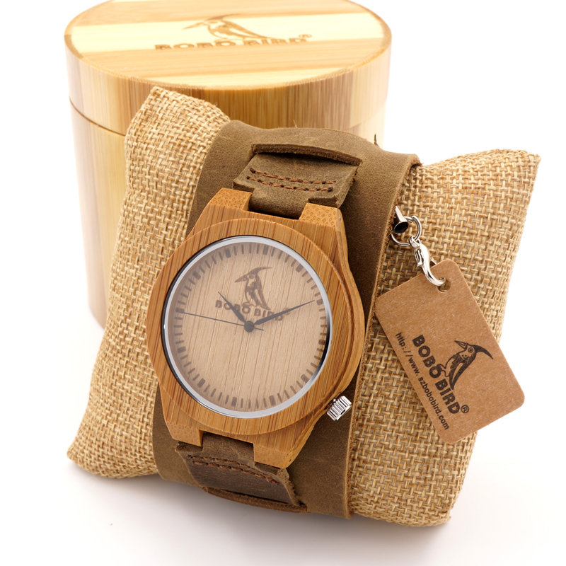 BOBO BIRD Wooden Wristwatch Mens Bamboo Dial Brown Leather Quartz Watch in Gift Box Logo Customization Available Male hodinky<br><br>Aliexpress