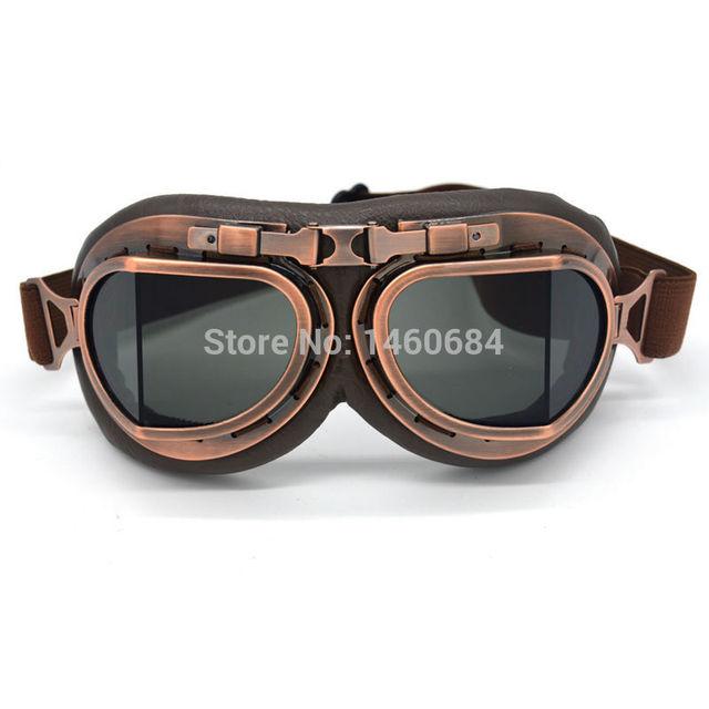 Universal Retro Pilot Motorcycle Goggles Glasses for Helmet Open Face Half Biker Motocross Goggles Motorbikes