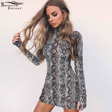 Bonnie Forest Sexy Turtleneck Long Sleeve Print Snake Dress 2017 Autumn Women Bodycon Pencil Sheath Bandage Dress Nightclub Wear(China)