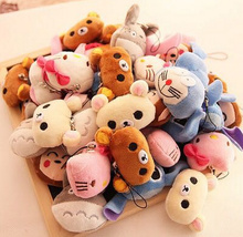 40pcs/lot For Choice - Super Hot mini Hello Kitty , Totoro , Lilo Stitch Etc. 4CM stuffed plush Toy Doll ; string rope toys
