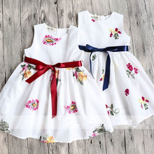 White Girl Print Dresses 2017 Summer Girl Cotton Ribbons Dress Cute Belle Dresses High-grade Children Clothing Belle Clothes