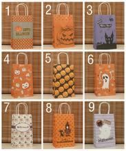 Halloween Gift Bags Craft Paper Tote Pouch With Handle Rope Halloween Sacks Paper Handbag Candy Gift Bag Pumpkin Paper Candy Bag