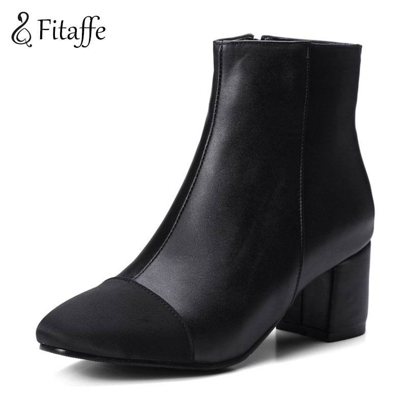 Fitaffe Womens High Heels Shoes Woman Elegant Chunky Ankle Botas Mujer Black White Chelsea Boots Party Wedding Shoes WomanGD014<br>