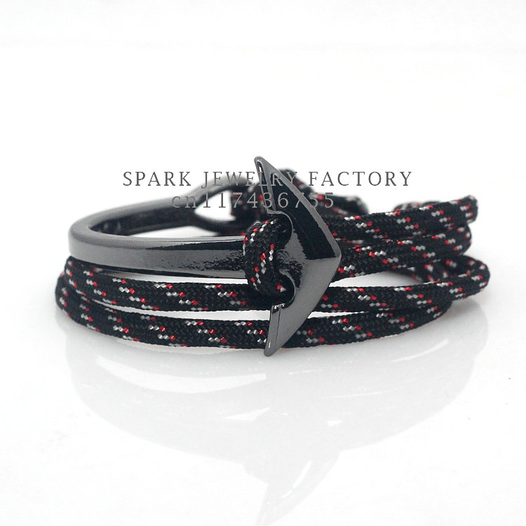 Metal Gun Black Plating Fashion Jewelry parachute cord Men Half Bend Curve Anchor Bracelet(China (Mainland))