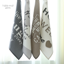 Letters Printed Cotton Cloth Tea Towel Napkins Thick Insulation Pad Kitchen Table Napkins Restaurant Diner Towel