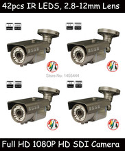 Lihmsek 4pcs DHL/EMS/FedEx/UPS Express 1080P 1/3'' 2MP CMOS sensor Digital Security Camera Infrared Outdoor HD-SDI Camera(China)