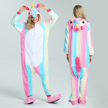 2017 Winter Halloween Adult Woman Pajamas Animal Pyjamas Flannel Pajama Sets Hooded Sleepwear Unicorn Stitch Panda Tigger Totoro(China)