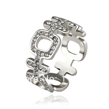 "LR513 New  White Gold Color Unisex Finger Rings Austrian Crystal Rhinstone Pave Items Chinese Meaning ""Happy"" Jewelry"
