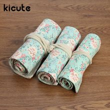 Kicute Unique Floral Flower Canvas Roll Up Pencil Case 36/48/72 Hole Large Capacity Pen Brush Holder Storage Pouch School Supply(China)