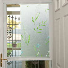 Film House Glass Window Privacy Film Stained Effect Green Leaf Security Static Cling Film BZ121-Y02(China)