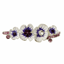 OneckOha Enameled Plum Flower Hair Barrettes Silver Plating Purple Stone Hair Clip Updo Hair Jewelry Birthday Gift