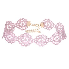 Fashion Style Pink Lace Flower Chokers Classic Collar Necklace Hollow Out Choker Gift for Women Jewelry Necklaces Hot Sale N3516
