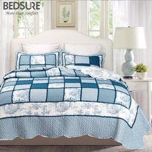 Bedsure Blue Toile Ruffled Bedclothes Luxurious Quilt Bedspread Bed Sheet Soft Patchwork Bed Linen Bed Set(China)