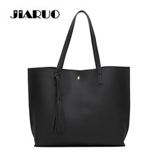 JIARUO Brand Luxury Tassel Pendant Design PU  Women Leather Shoulder bags Large Tote Top-Handle Handbags
