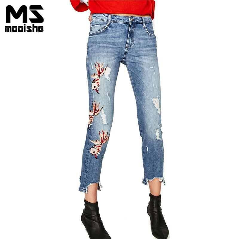 Mooishe Summer ZA Women Jeans Ripped Mid Rise Slouchy Fit Embroidered Fish Ankle Length Blue Women Jeans Denim PantsÎäåæäà è àêñåññóàðû<br><br>