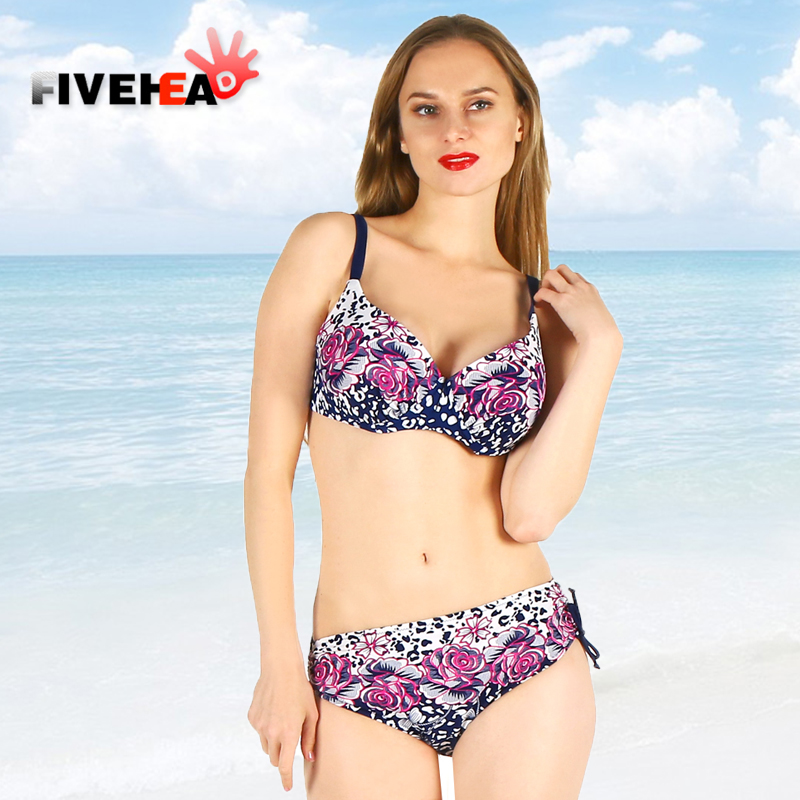 bikini women swimwear sexy sling low waist halter deep v solid color printed large size big cup bathing swimsuit biquini female<br>