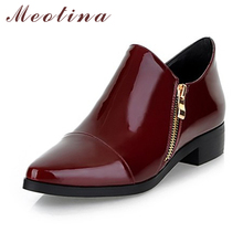 Buy Meotina Women Shoes Pointed Toe Flat shoes Fashion Shoes Autumn Pattent Leather Ladies Shoes Zip Black Red Plus size 9 10 for $25.28 in AliExpress store